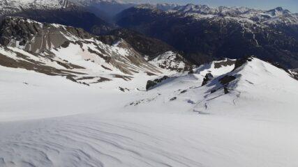 La Punta quota 3.048 - versante nord-est: parte alta della discesa vista dalla cima