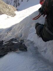 partenza delicata..placca con esile strato di ghiaccio in superficie..