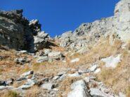 Il ripido canale che sbuca in cima alla cresta.