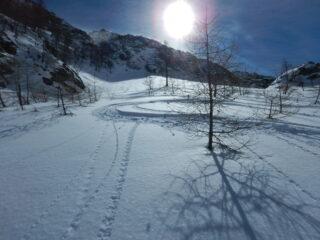 bella neve nella discesa lato Vaudala