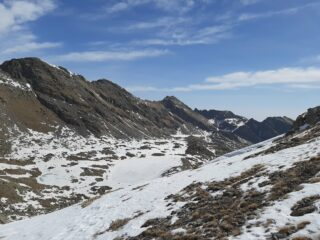 Il Lago della Fertà e in lontananza il Lago Grande di Unghiasse visti dal Colle della Terra Fertà (5/4/2021)