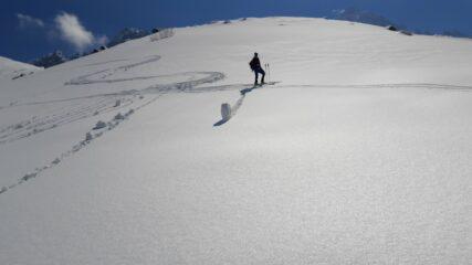 Neve trasformata sotto il lago Chiaretto