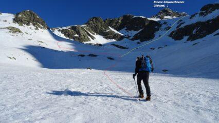In rosso a sx la traccia normale con sci e cispole a dx quella gialla alpinistica.
