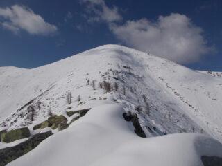 la cima dell'Uja cosi come appare usciti dalla boschina..