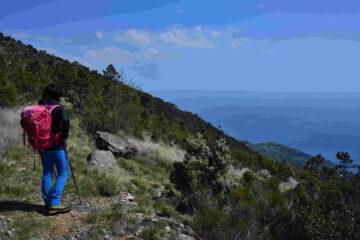 Il sentiero di rientro sul versante Sud del monte Pennone