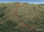 traccia da Pian del Lupo alle cime Sud e Nord