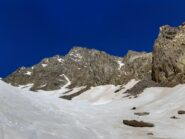 Il primo canale di accesso visibile, ma più scomodo senza neve