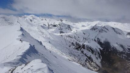 Cresta verso l'Enclausetta e versante nord-ovest