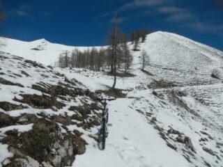 il sentiero innevato per la cima Croce San Giuseppe