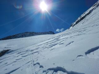 si arriva sul ghiacciaio