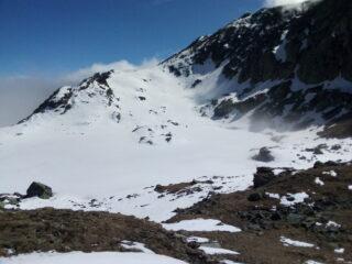 Il lago di Viana ancora gelato visto dal colle.