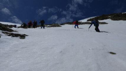 il gruppo in azione nel tratto ripido della rampa