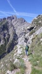 L'impressionante parete rocciosa del Toraggio dal sentiero degli Alpini