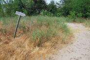 L'indicazione a S. Sofia per il sentiero a scendere nel fondo valle.