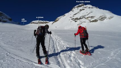 Messo piedi sulla Vedretta del P.zo Scalino  seguiamo la traccia che porta verso la cresta.