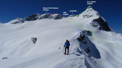 In verde la salita al P.zo Scalino, in rosso la salita a Cima di Val Fontana, in blu la discesa sulla cresta verso il P.so di Campagneda.