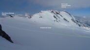 Scesi da P.ta degli Spiriti puntiamo al M.Cristallo . In rosso la traccia di salita sulla cresta est.