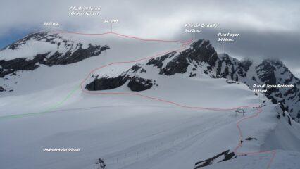 In rosso la discesa da P.ta degli Spiriti e il proseguimento per la cresta est del M.Cristallo.