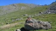 Il Roc al centro della foto; si raggiunge la cresta a sin. nel tratto dove l'erba confina con la pietraia
