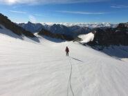 Via del ritorno sul ghiacciaio Gelè, puntando al colle M.te gelè