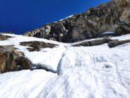 Primi 100 metri di discesa sul versante italiano