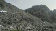 Passo del Ranco e percorso di discesa (compiendo l'anello) visto dal Vallone delle Giargiatte