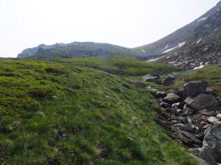 Nel canalone, verso la cima che si vede sullo sfondo.