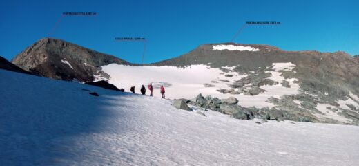 le nostre mete viste dal ghiacciaio del Baounet