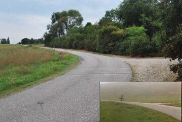 """Il tratto di strada dove l'Elia de """"Il bisbetico domato"""" con bicicletta e telescopio (nel riquadro) imbocca il bivio"""