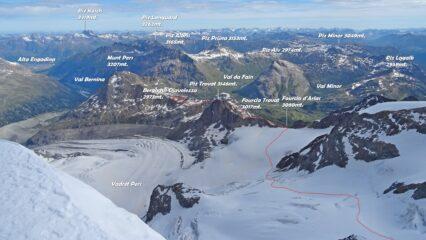 Panorama dal Piz Palü orientale, in rosso la traccia di salita.