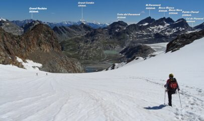 Al ritorno in discesa sul ghiacciaio.