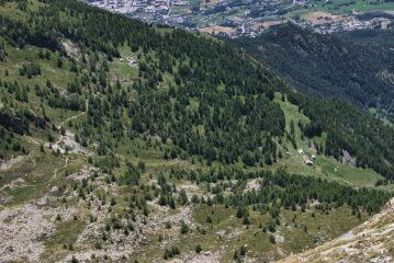 Gli alpeggi di Viou dalla vetta