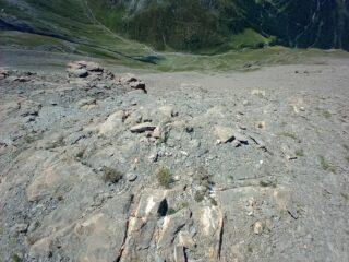 discesa infida su lato Valle Lunga/Argentera per evitare salto sulla cresta del Monte Appenna
