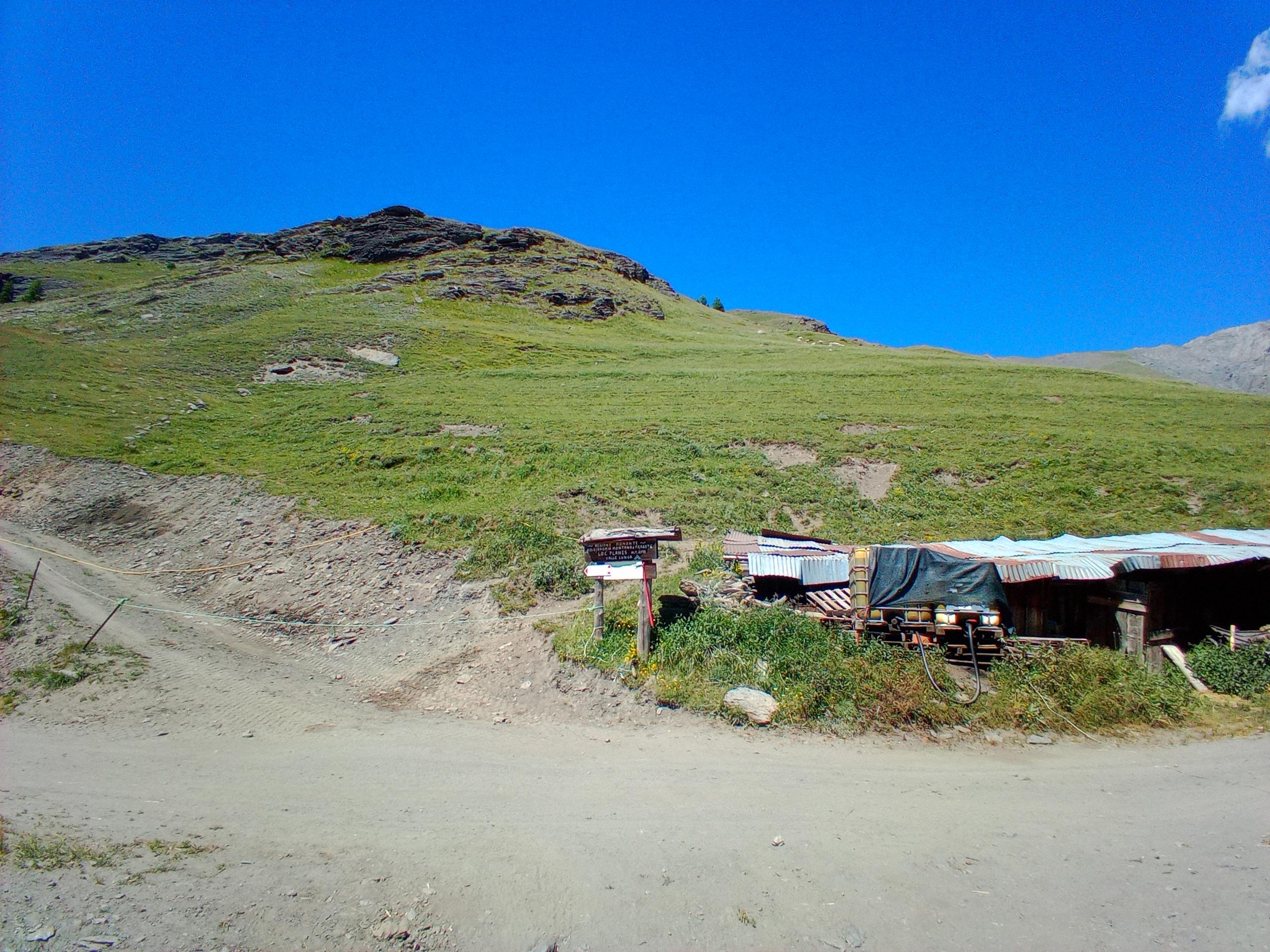 il sentiero attacca dietro il cartello (attenzione alle numerose tracce di bestiame che confondono in salita in discesa di meno, perché si vedono i bolli
