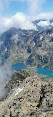 Lago Chiotas e lago Brocan dalla vetta