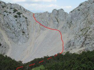La pietraia d'accesso vista dalla cima