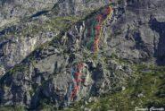 Parte bassa: in azzurro Robinson e in rosso Chioma B. Parte alta: In verde Climer A.L. - in rosso Antropizzazione C. - in giallo Vuoto C.