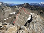 Salita alla prima cima e cresta per avvicinarsi alla Malatrà.