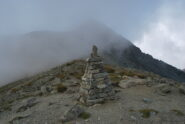 L'arrivo al colle: Mt. Faroma e Vallone di St. Barthelemy nella nebbia