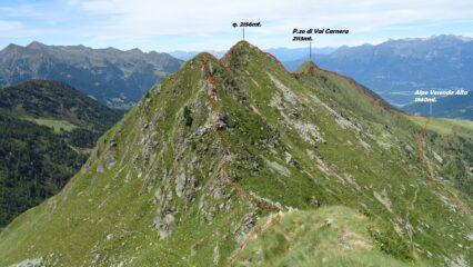 Vista dal M.Verrobbio sulla cresta per il P.zo di Val Carnera. In rosso la traccia che ho fatto.