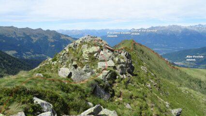 Dal P.zo di Val Carnera, la traccia di discesa.