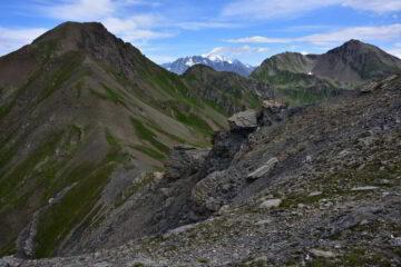 Veduta su Passo Paletta, M.Rosso, Grand Combin e M.Fallere dalla vetta della Leissé