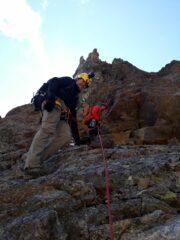 la cresta dal col des Lacs verso la punta Vigna con passi max, III°