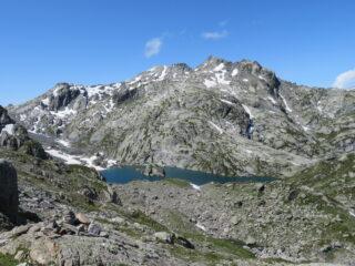 secondo lago di Bella Comba e catena del Freduaz sopra