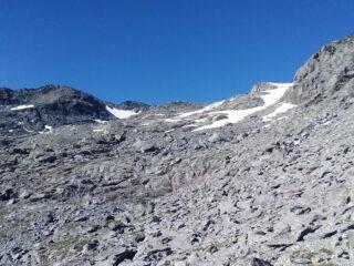 La zona del ghiacciaio di Bard vista dal basso.