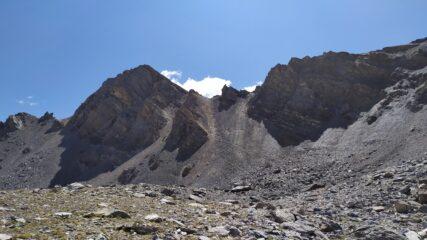 Il ripido sentiero percorso in discesa dal colle di Ciaslaras al Colle Marinet