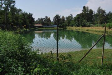 Uno dei due laghi vita a Ghemme, prima di salire sull'argine