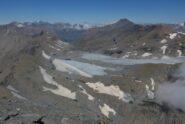 Charbonnel e quel che resta del ghiacciaio del Rocciamelone