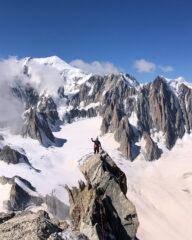 Albi sulla punta Sella con dietro il Monte Bianco