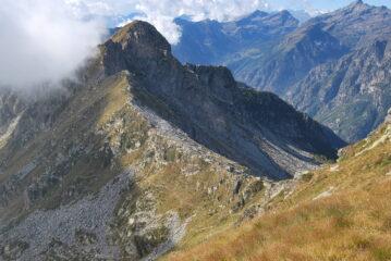 Dalla cresta SE della Tre Vescovi: il Colle della Mologna Grande (versante biellese) con i due sentieri d'arrivo e la cresta con i Gemelli